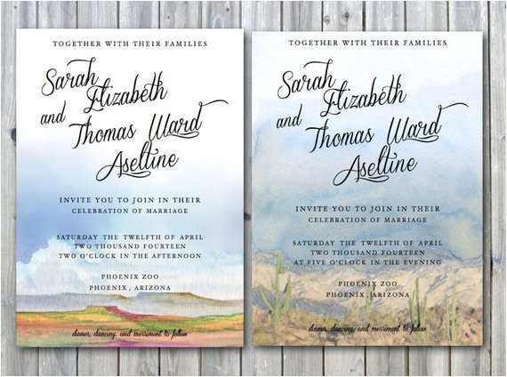 Wedding Invitations Az Arizona Wedding Invites Desert Wedding by
