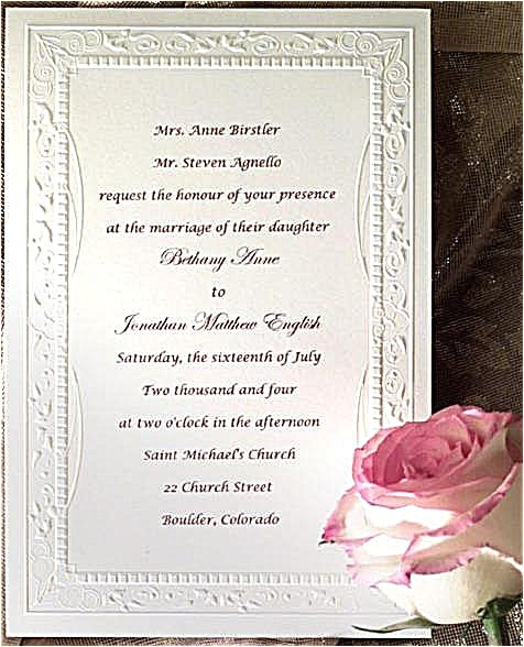 catholic wedding invitation wording roman portrait simpl