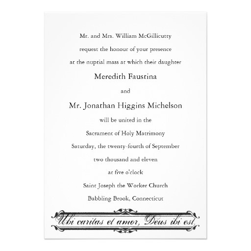 wedding invitation wording catholic mass