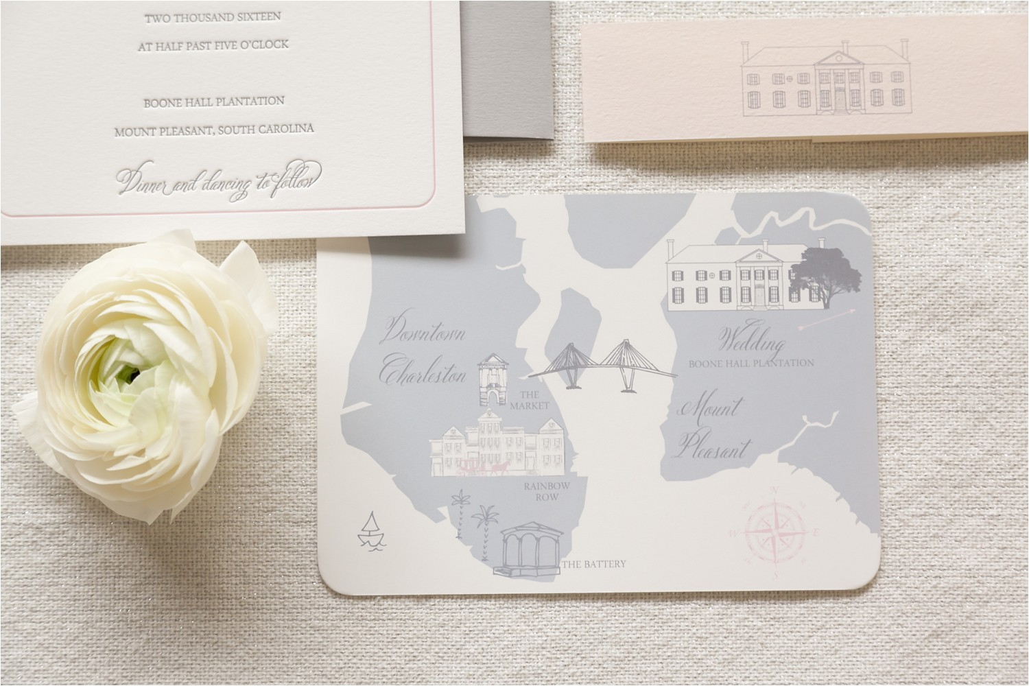 boone hall wedding invitation