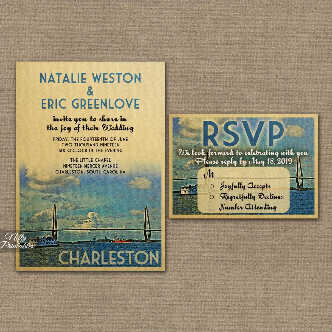 Wedding Invitations Charleston Sc Charleston Wedding Invitations Vtw Nifty Printables