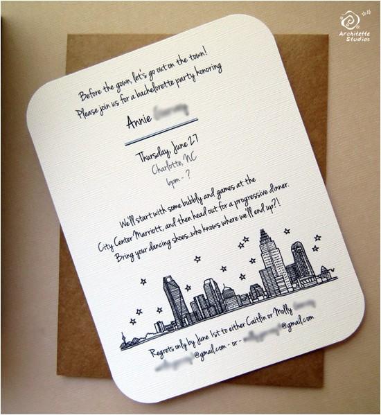 charlotte skyline bachelorette invitations