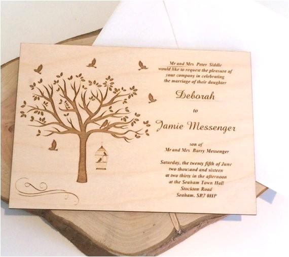wooden wedding invitations rustic