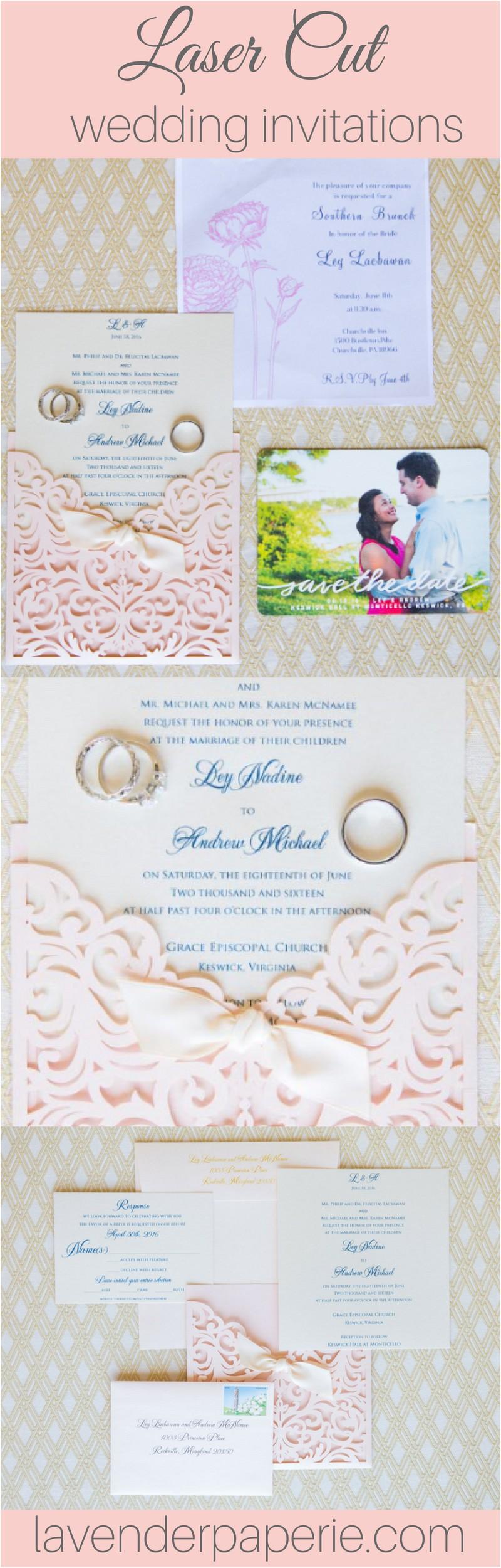 wedding invitation laser cut wedding invitation laser cut wedding invite vintage wedding invitation pocket blush wribbon knot