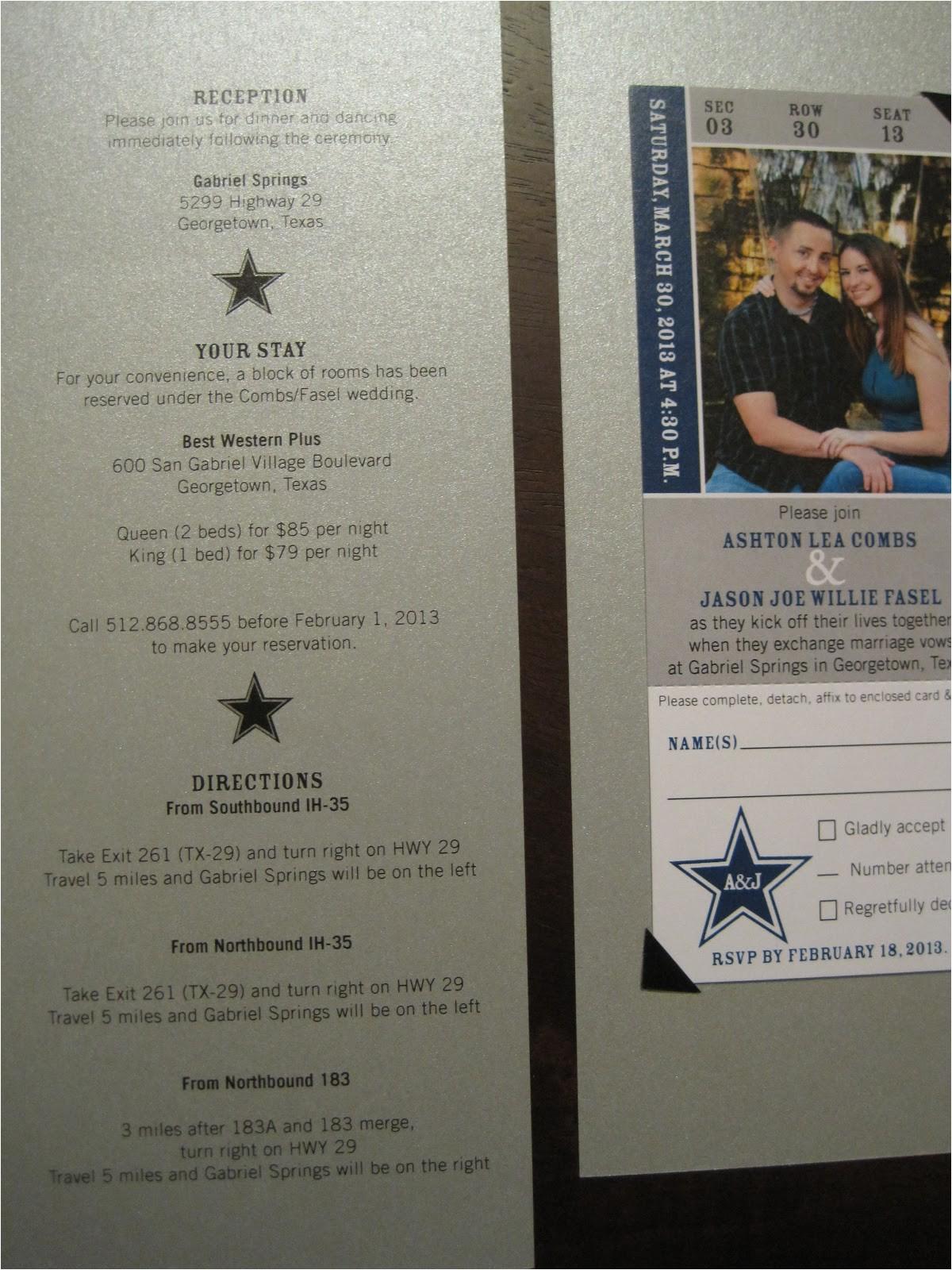 Wedding Invitations In Dallas Tx the Inviting Pear Photoblog Cowboys Ticket as Wedding