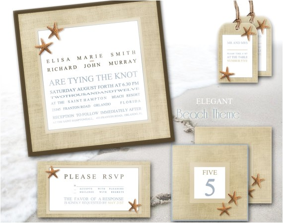 beach wedding invitation custom printabl