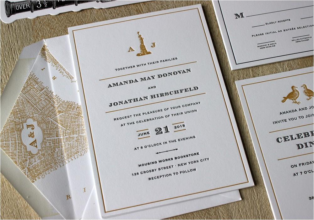 vintage nyc letterpress wedding invitations