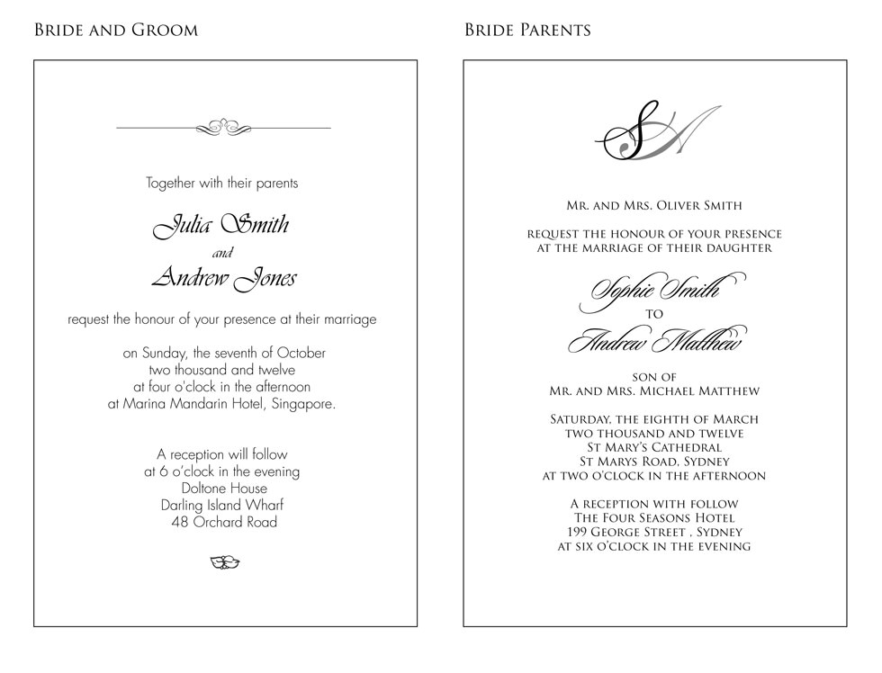 wedding invitation in english text