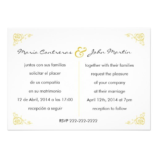 bilingual english spanish wedding invitation 161474490167585126