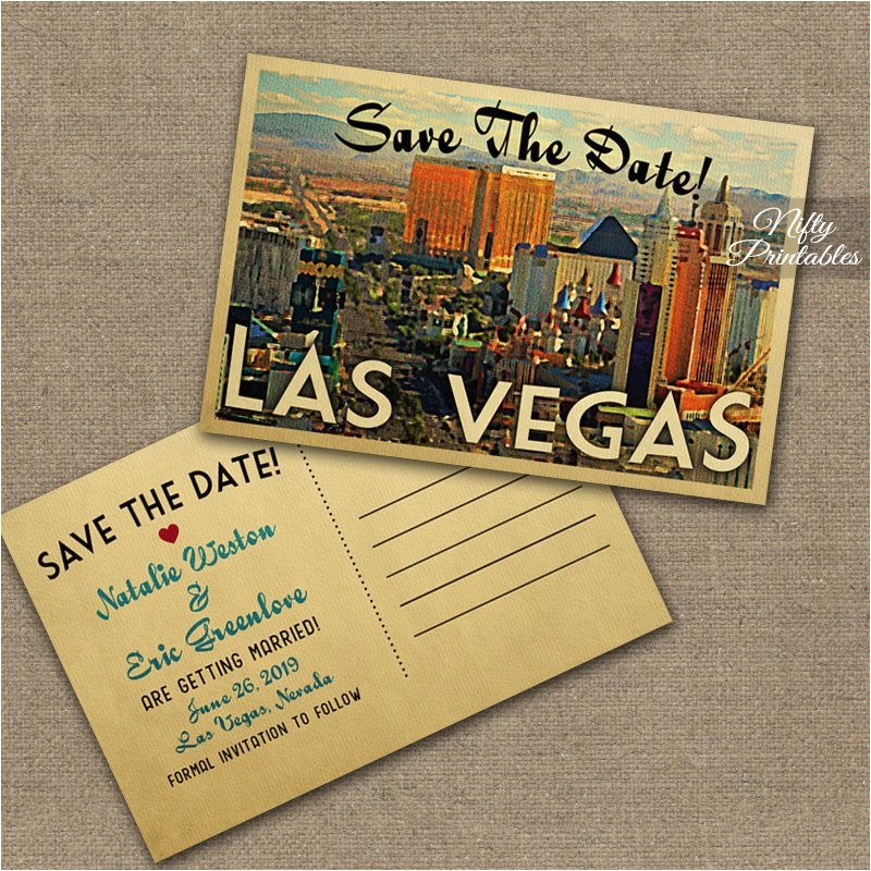 las vegas save the date postcards