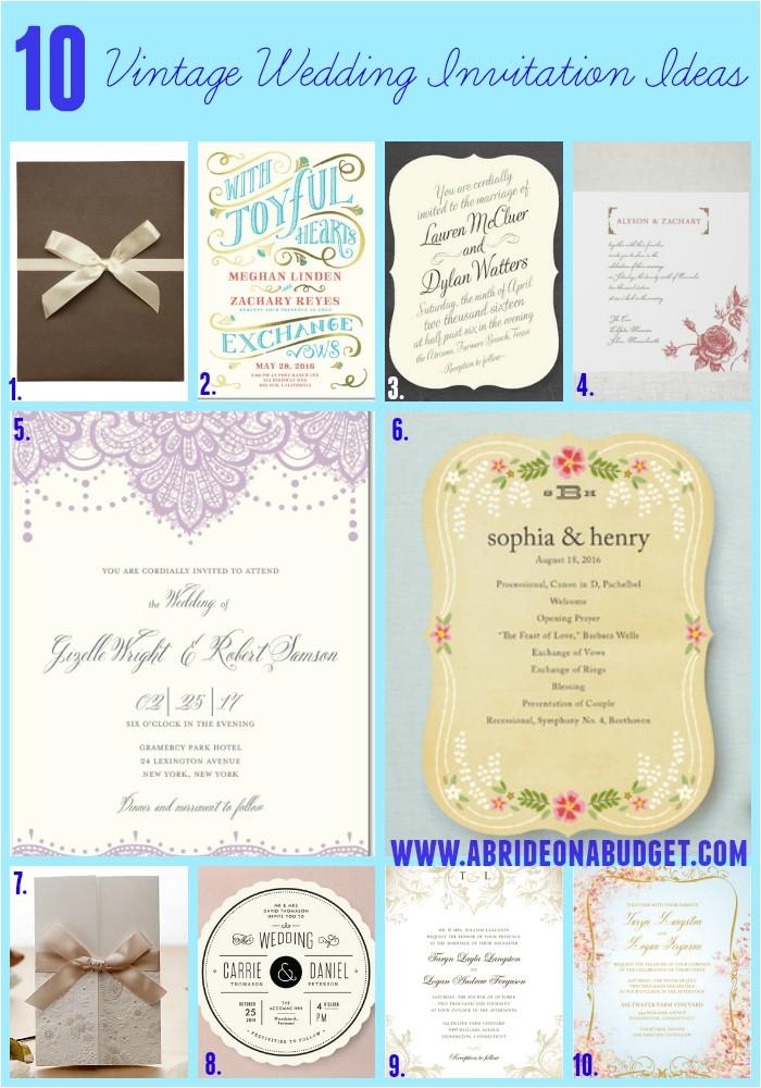 10 vintage wedding invitation ideas