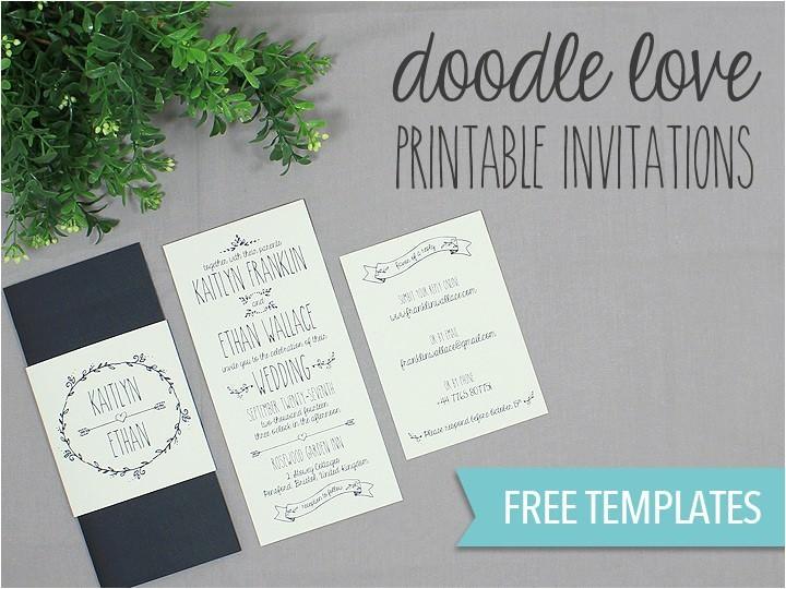 diy tutorial free printable doodle wedding invitation set