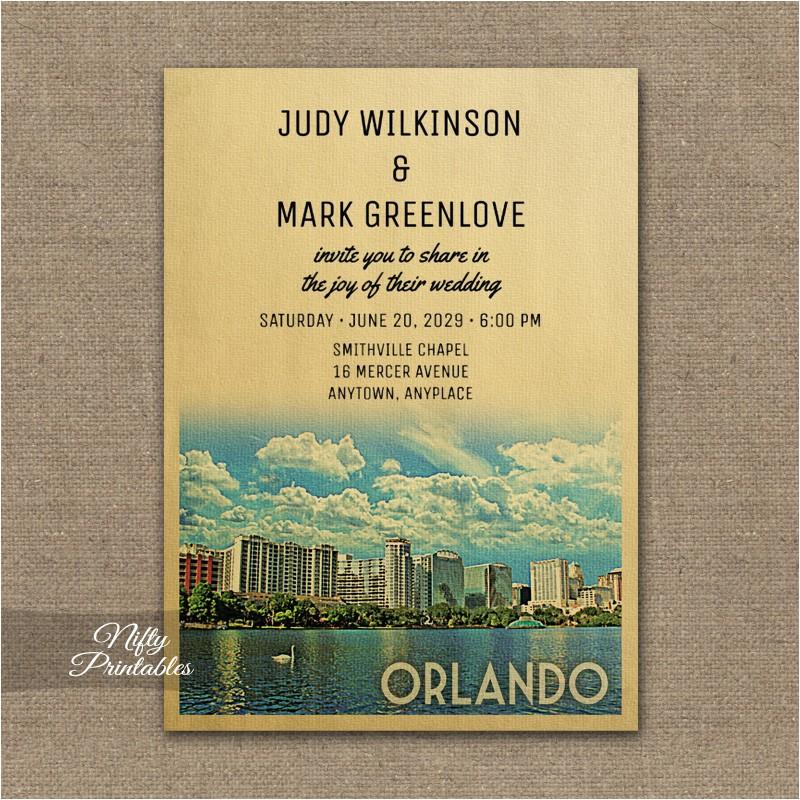 orlando wedding invitation printed