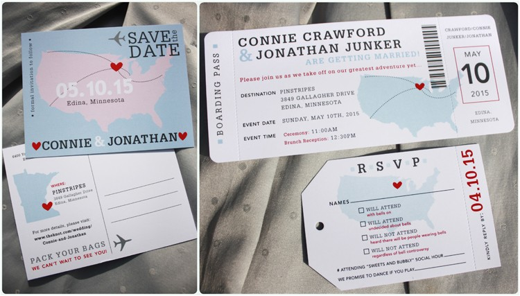 light blue gray red usa world maps airline ticket wedding invitations