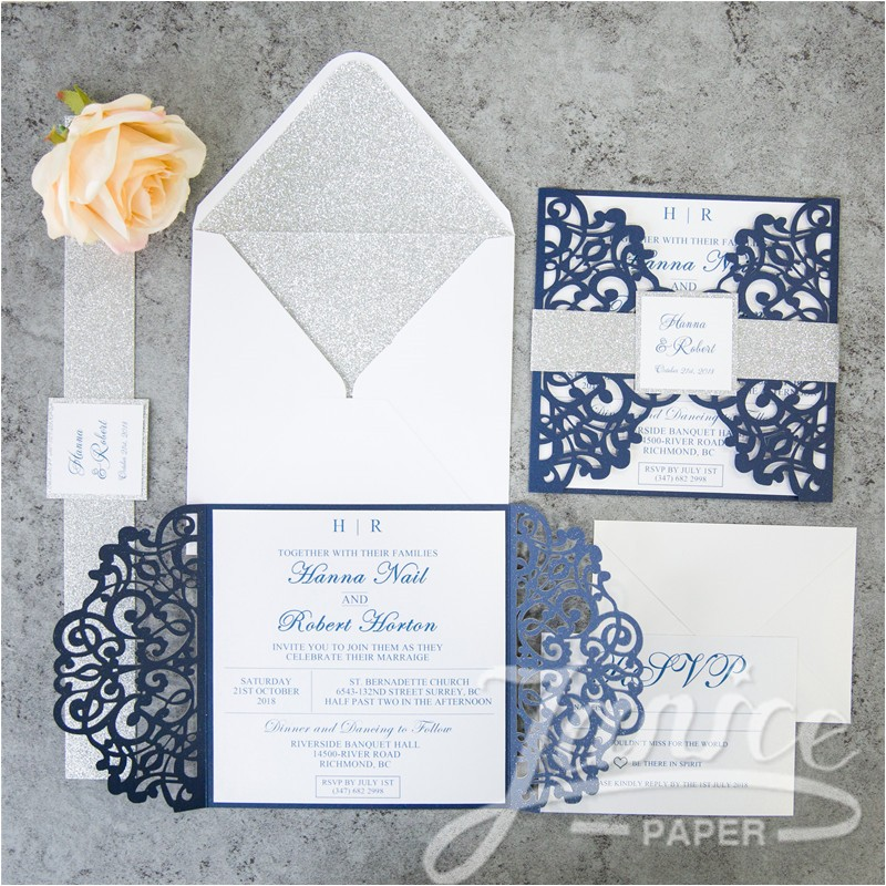elegant floral laser cut wholesale wedding invitation wpl0135s p 642