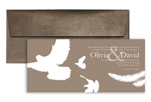 word template brown white doves wedding invitation example wi 1197
