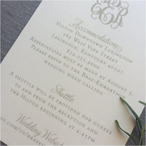 sample engraved monogram wedding invitation with dove gray ink