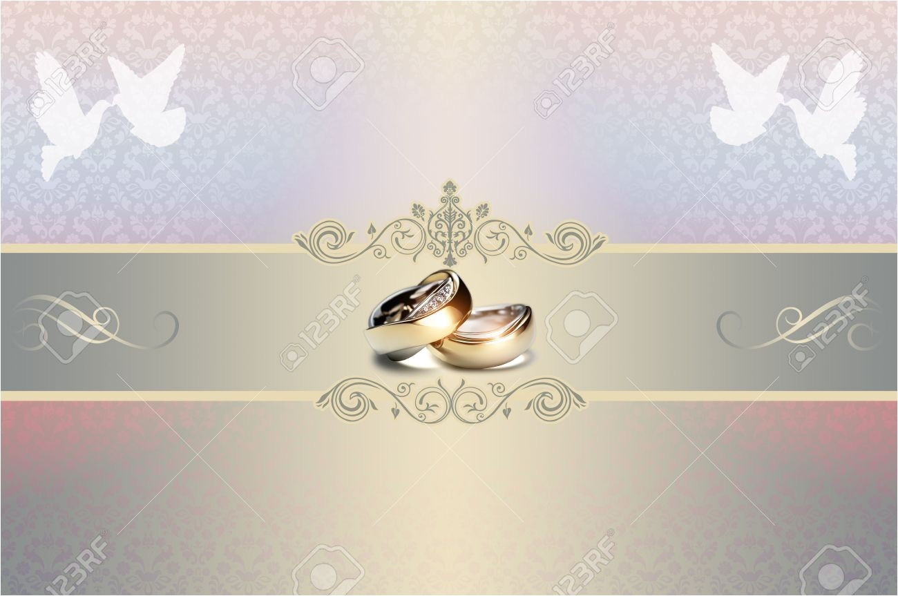 template of wedding invitation card with gold rings and