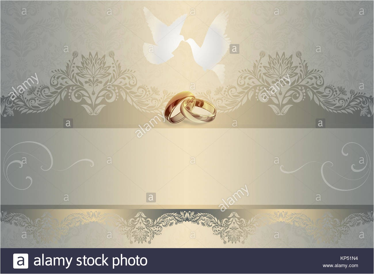 stock photo template of wedding invitation card with white doves and gold rings 168526880