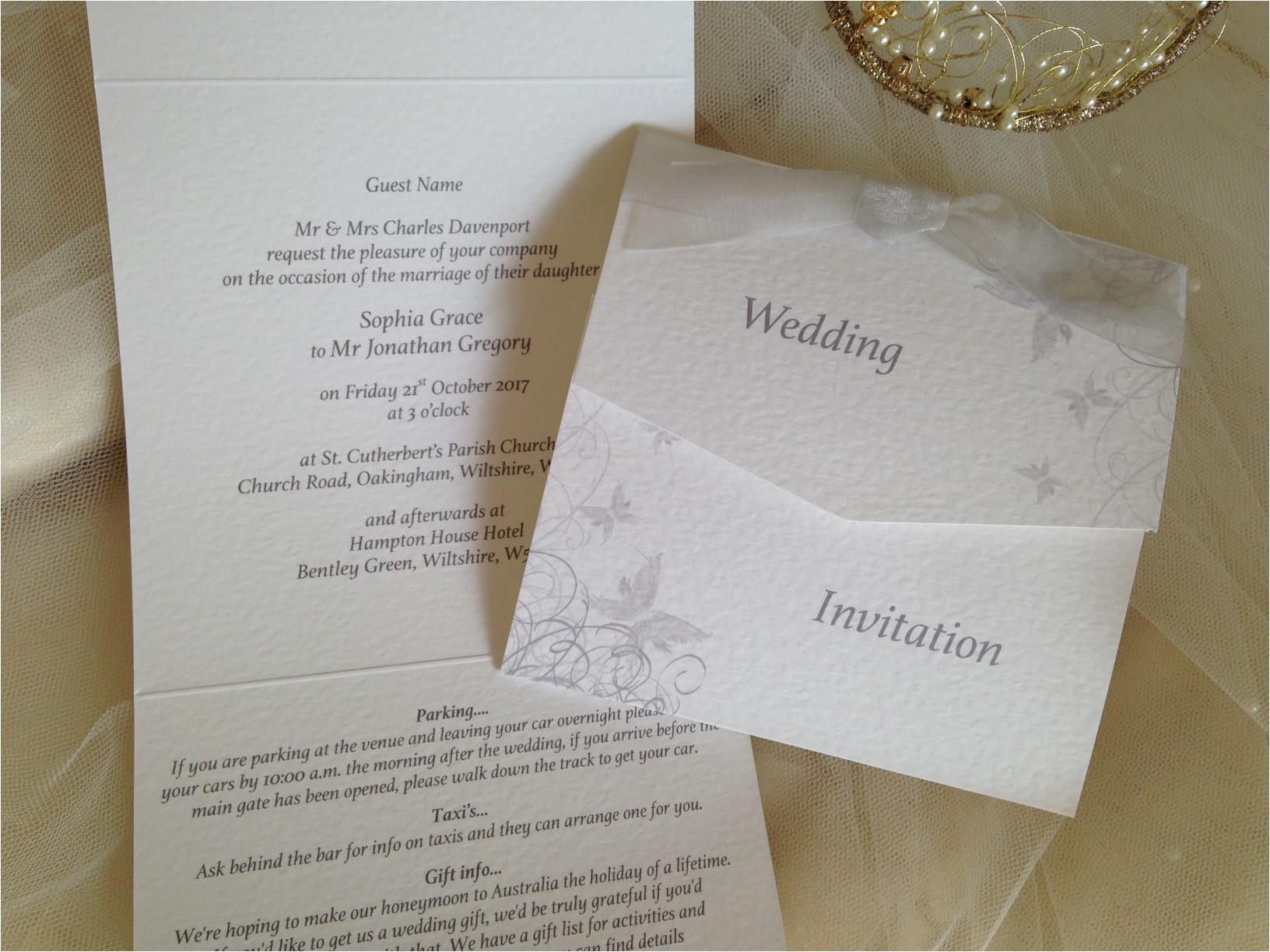 silvergrey butterfly tri fold wedding invitations