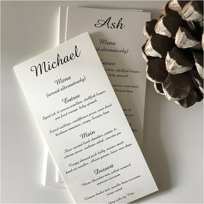 simple personalised wedding menu