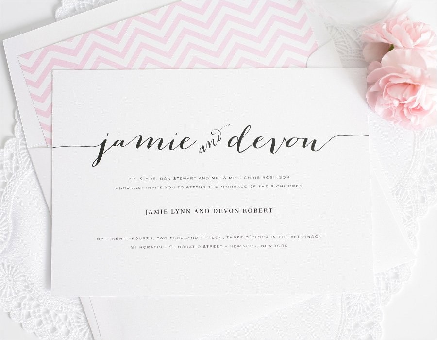 wedding invitations unique script names pink envelope liner