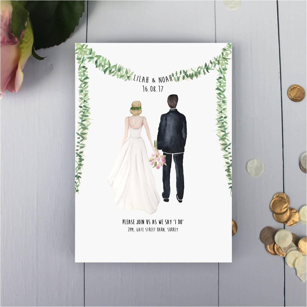 personalised illustrated couple wedding invitation