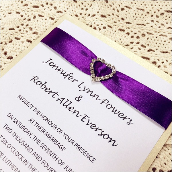 classic purple ribbon heart rhinestone layered wedding invites ewli008