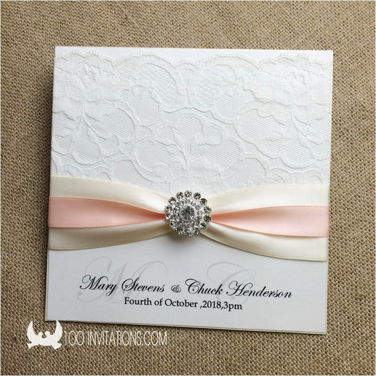 elegant lace wedding invitation with double ribbons and rhinestone button p 3371
