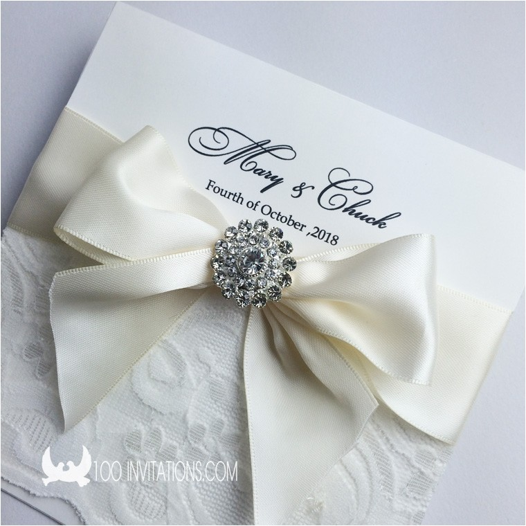 elegant lace wedding invitation with ribbon bow rhinestone brooch p 3383