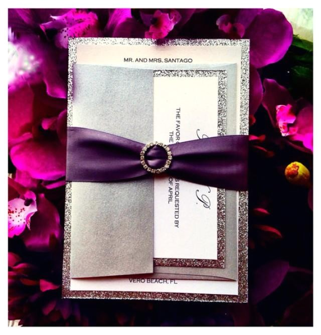 Wedding Invitations with Ribbon and Rhinestones Silver Wedding Invitation with Rhinestone Ribbon 2239768