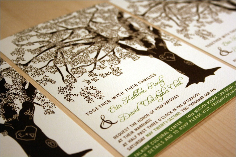 grandfather oak tree wedding invitations
