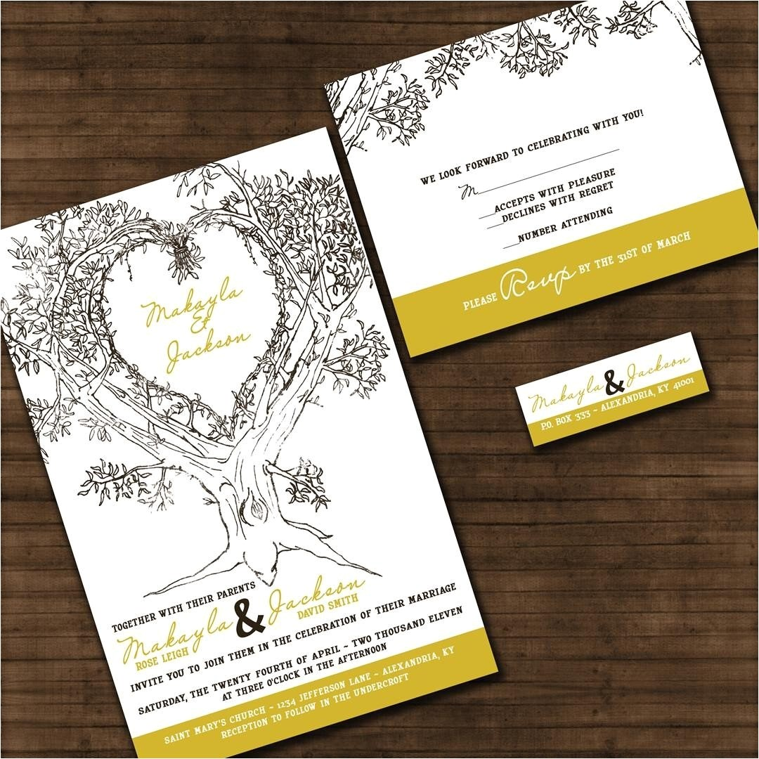 personalized oak tree wedding invitation