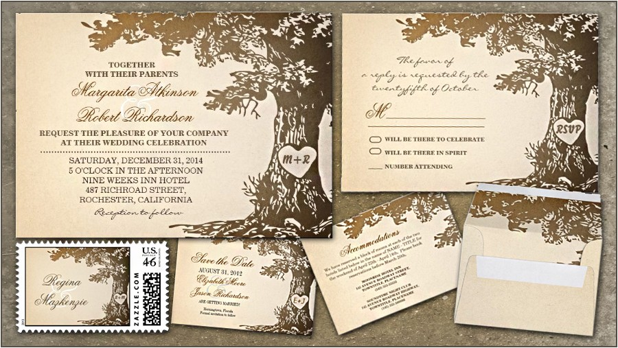 rustic wedding invitations with old oak tree