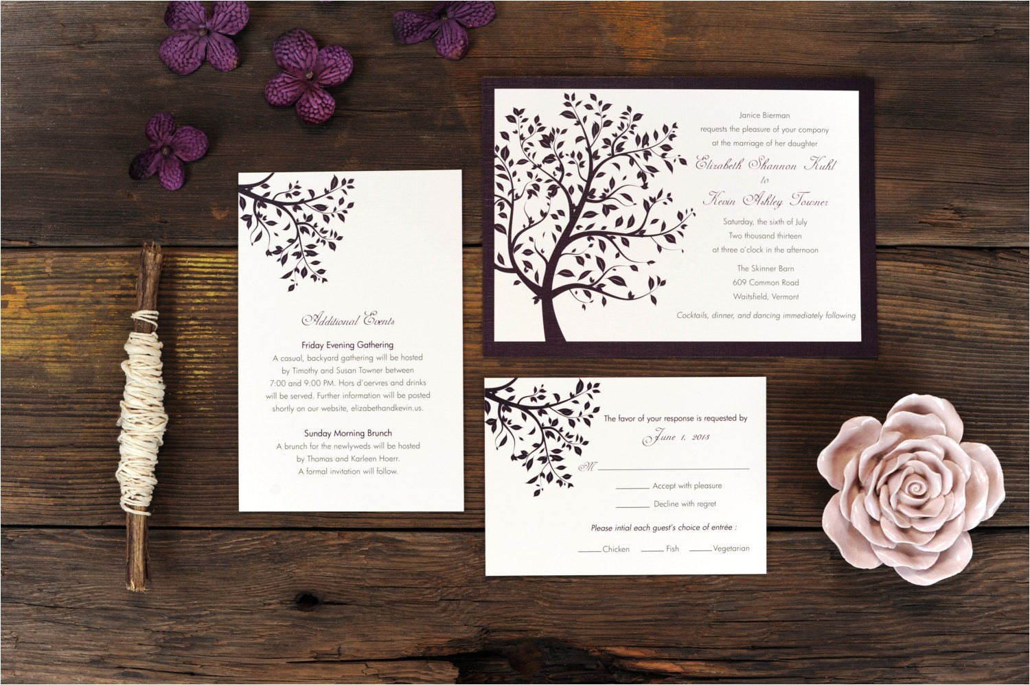 summer tree wedding invitation breeze