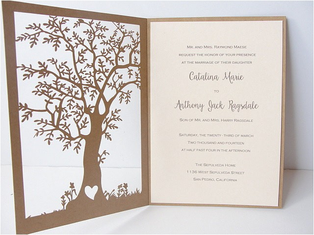 fall wedding invitation laser cut tree wedding invitation tree wedding invite rustic wedding invitation autumn wedding tree 2 kraft