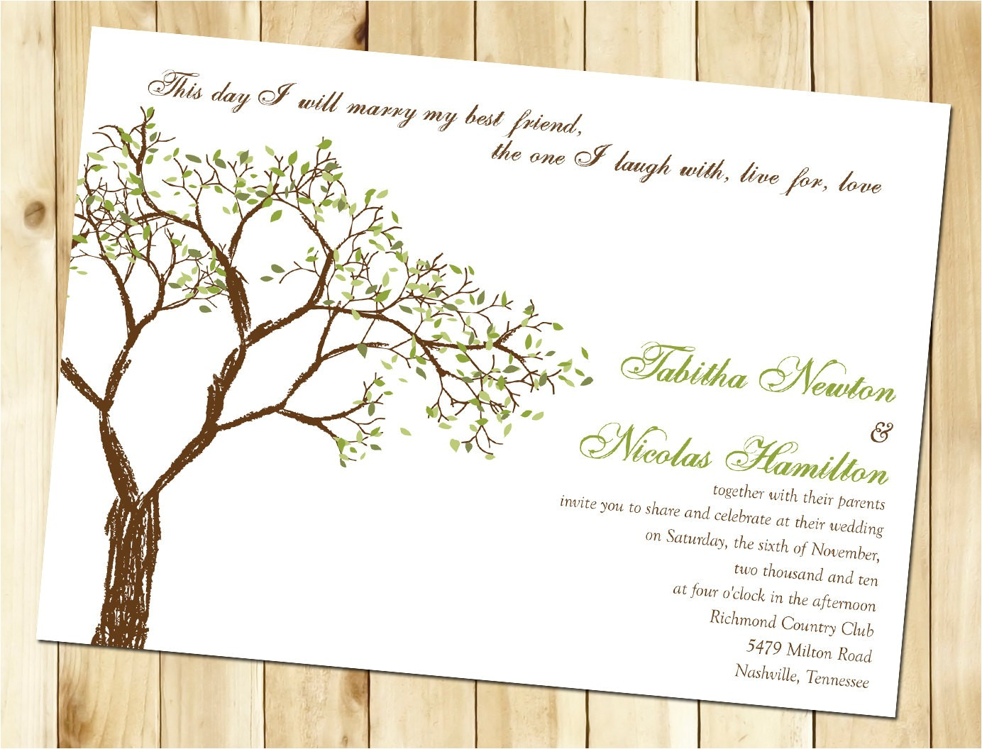 wedding invitation templates tree