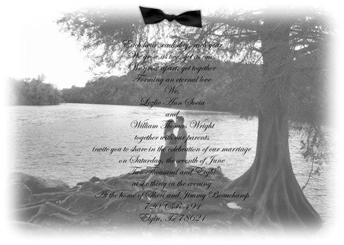 wedding invitation photo with vellum