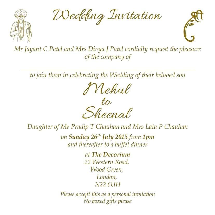 hindu wedding invitation wordings