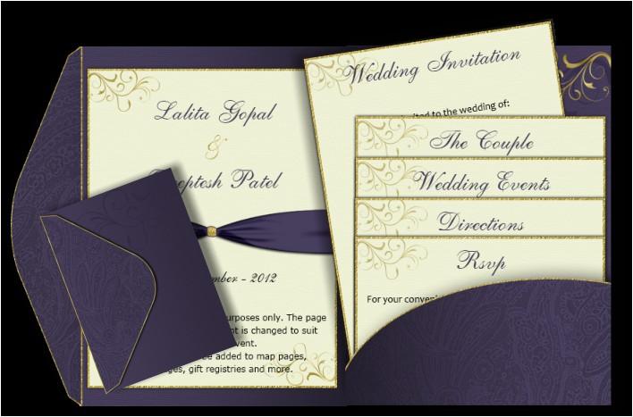 purple gold pocket fold email wedding invitation templ