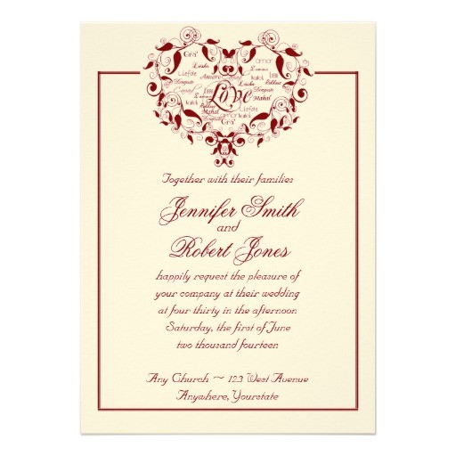 love in any language in red wedding invitation 161274865240705335