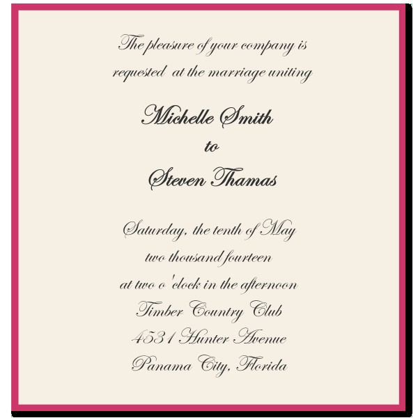 wedding invitation language template