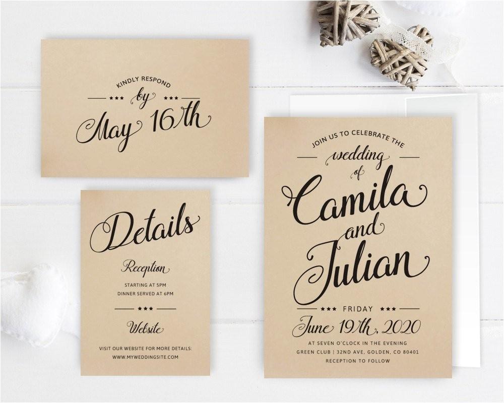 cheap wedding invitation packages kraft