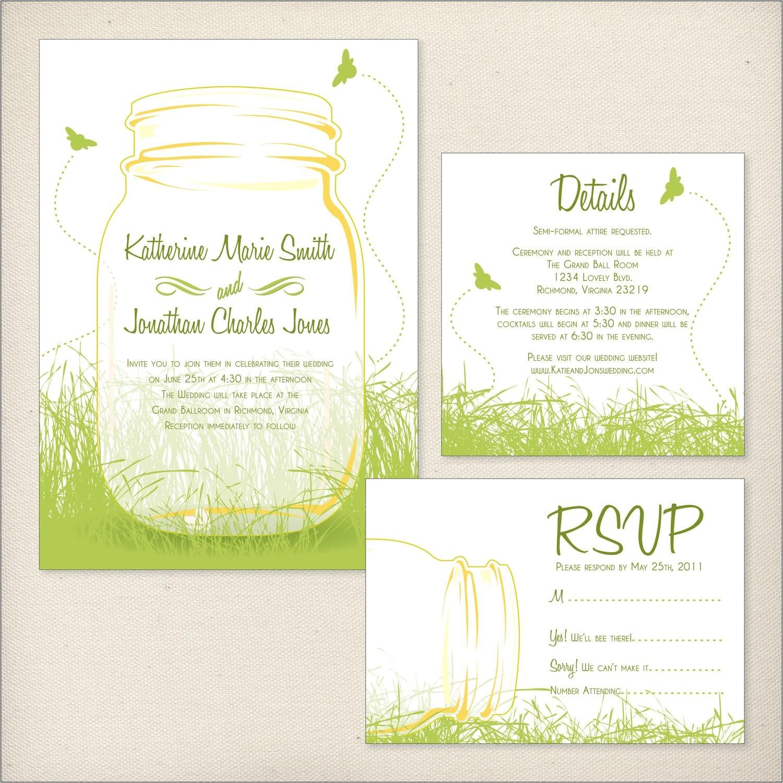 mason jars wedding invitation package