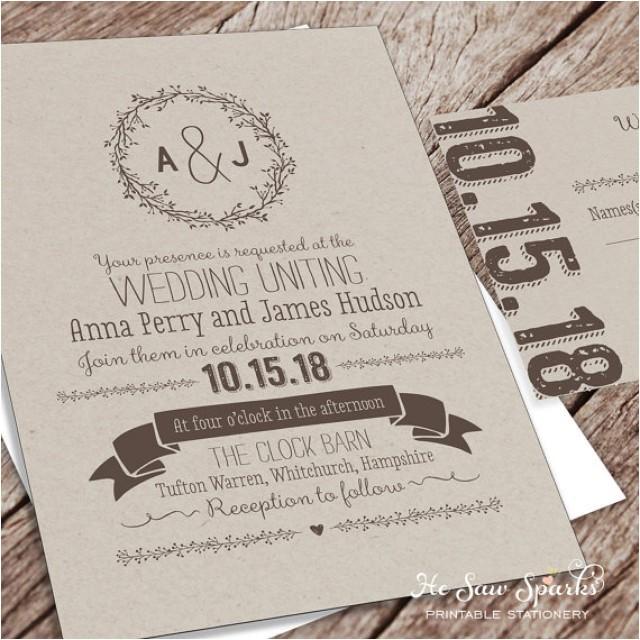 printable wedding invitation package kraft
