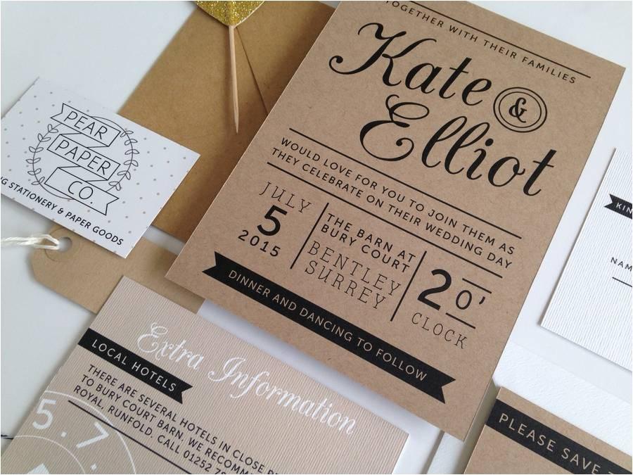 kraft stamp wedding invitation