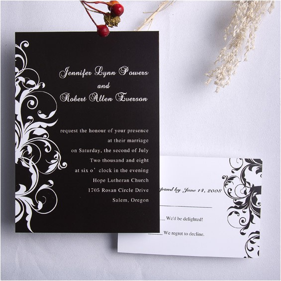 classic black and white damask wedding invitations ewi023
