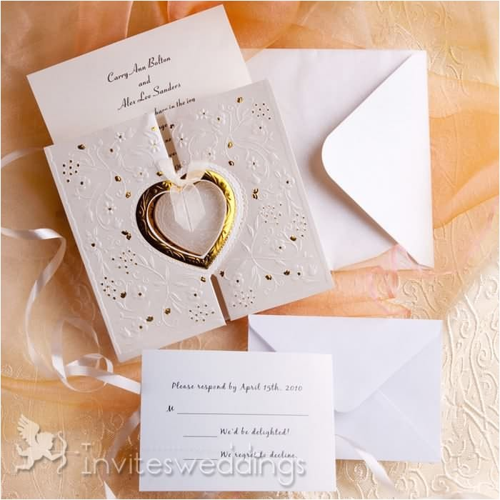 romantic gold and white heart folded wedding invitations iwzd01 p 291