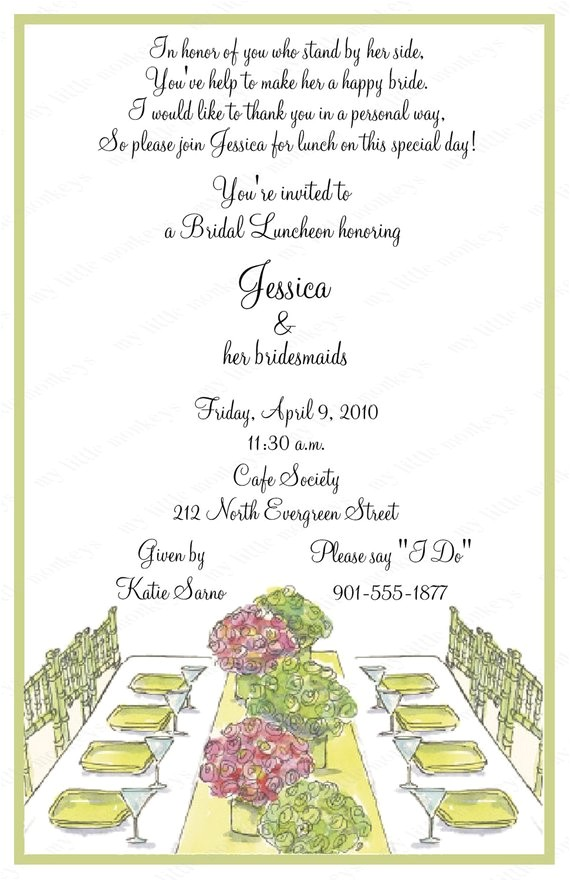 10 bridal luncheon invitations with