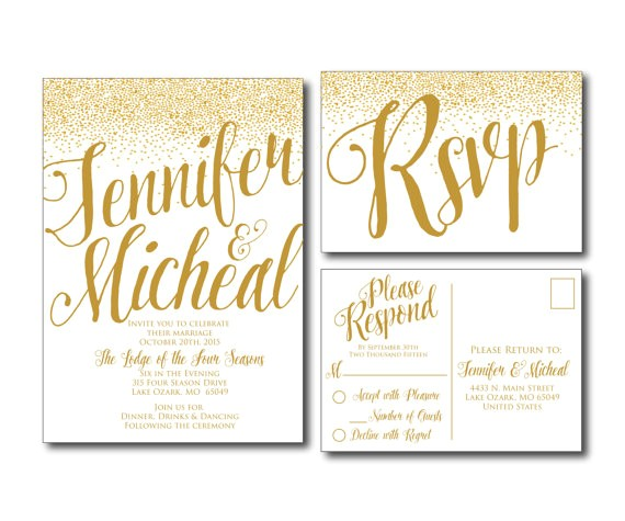 gold wedding invitation gold sparkles printable wedding invitation rsvp postcard wedding rsvp rsvp card printable file